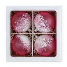 Nastrom Sada 4 ks sklenených vianočných ozdôb Ľadová cukráreň - guľa s posypom, ružová, 10 cm