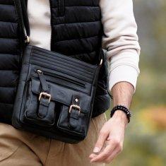 Always Wild Luxusná pánska kožená taška Jhonny, čierna