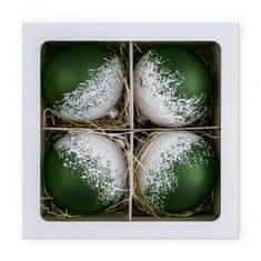 Nastrom Sada 4 ks sklenených vianočných ozdôb Ľadová cukráreň - guľa s posypom, zelená, 10 cm