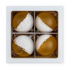 Nastrom Sada 4 ks sklenených vianočných ozdôb Ľadová cukráreň - guľa s posypom, žltá, 10 cm