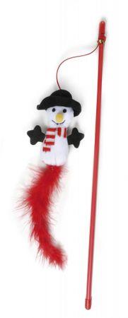 RECORD Igračka za mačke, štap sa snjegovićem i perjem, 47 cm
