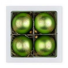 Nastrom Sada 4 ks sklenených vianočných ozdôb eklektik - guľa sa zlatým bodkovaním, zelená, 10 cm