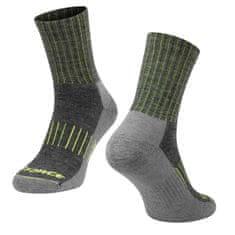 Force Zimní cyklistické ponožky ARCTIC s vlnou Merino - šedá/fluo