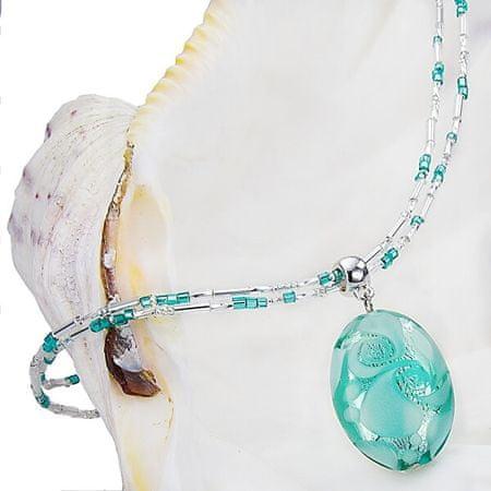 Lampglas Gyengéd női nyaklánc Turquoise LaceLampglas gyönggyel, tiszta ezüst NP5