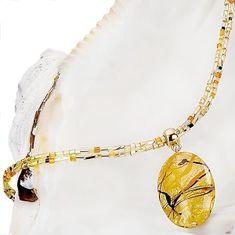Lampglas Originálne dámsky náhrdelník Sunny Meadow s perlou Lampglas s 24 karátovým zlatom NP16