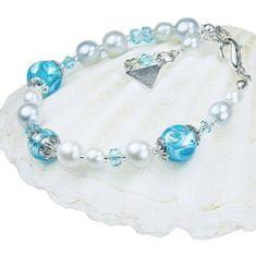 Lampglas Elegantný náramok Blue Lace s perlami Lampglas s rýdzim striebrom BP4