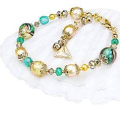 Lampglas Elegantný náramok Green Sea World s perlami Lampglas s 24 karátovým zlatom BP26