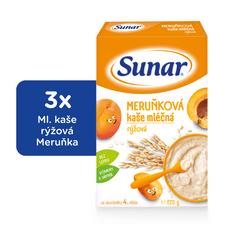 Sunar Marhuľová kašička mliečna, 3x225g