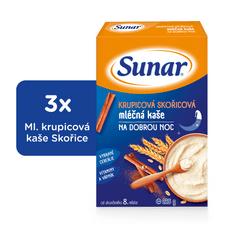 Sunar krupicová kašička so škoricou na dobrú noc mliečna (3x225g)