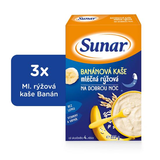 Sunar Banánová kašička na dobrou noc mléčná, 3x225g