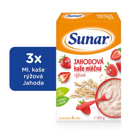 Sunar jahodová kašička mléčná (3x225g)