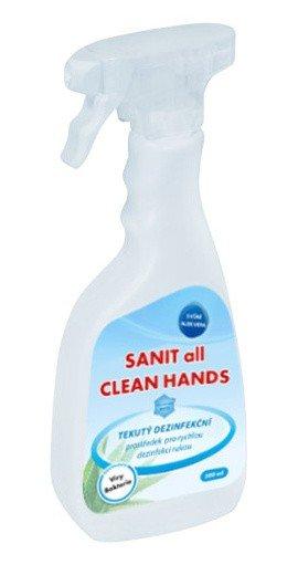 NTV Services SANIT all CLEAN HANDS dezinfekční prostředek na ruce 500ml rozprašovač