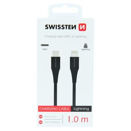 SWISSTEN ADATKÁBEL USB-C / LIGHTNING 1 M 71506513, FEKETE