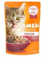 IAMS Delights hrana za starejše mačke, s piščancem, v omaki, 24 x 85 g