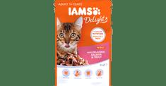 IAMS Delights hrana za odrasle mačke, z lososom in postrvjo, v želeju, 24 x 85 g
