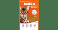 IAMS Delights hrana za odrasle mačke, s pečenom puretinom i patkom, u želeu 24 x 85 g