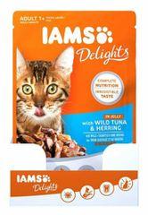 IAMS Delights hrana za odrasle mačke, z divjo tuno in sledom, v želeju, 24 x 85 g