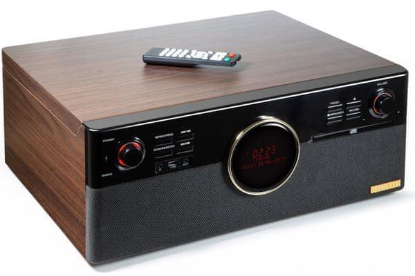 multifunkční zařízení technaxx tx-137 bluetooth aux in usb fm dab rádio tuner gramofon řemínkový 3 rychlosti poloautomatický retro provedení digitalizace desek kazet cd vlastní reproduktory stereo