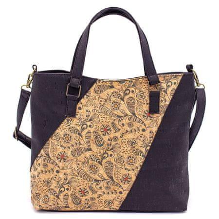 CORK Ženska torbica z elegantnimi vzorci - BLACK