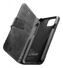 CellularLine Prémiové kožené puzdro typu kniha Supreme pre Apple iPhone 12/12 Pro SUPREMECIPH12MAXK, čierne