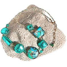 Lampglas Elegantný náhrdelník Emerald Princess s 24 karátovým zlatom a striebrom v perlách Lampglas NRO1