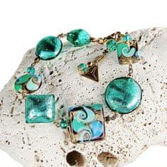 Lampglas Elegantný náramok Emerald Princess s 24 karátovým zlatom a striebrom v perlách Lampglas BRO1