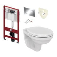 Tece TECE set 1- Inštalačný modul s nádržkou UNI pre WC + tlačidlo chróm + úchyt + zvuková izolácia + závesné WC + WC sedátko