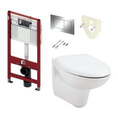 Tece TECE set 2- Inštalačný modul s nádržkou UNI pre WC + tlačidlo chróm + úchyt + zvuková izolácia + závesné WC + WC sedátko Soft-Close