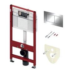 Tece TECEprofil- SET 4v1: Inštalačný modul s nádržkou UNI pre WC, výška 1,12m + tlačidlo chróm + úchyt + zvuková izolácia, 9400012