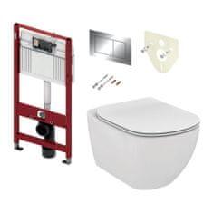 Tece TECE set 3- Inštalačný modul s nádržkou pre WC + tlačidlo chróm + úchyt + izolácia + závesné WC AQUABLADE + WC sedátko Soft-Close, ultra ploché