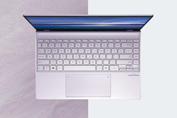 výkonný a stylový odolný notebook asus zenbook 14windows 10 home wifi ax bluteooth intel iris xe graphics intel core i5 schopnost zpracovat 2 procesy současně tělo z odolného kovu splňující vojenský standard harman kardon zvuk napájení usb-c thunderbolt antireflexní displej full hd ips hdmi podsvícená klávesnice numberpad