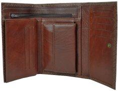 VegaLM Kožená peňaženka s mriežkovaným dekorom v hnedej farbe