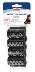 RECORD vrećice za pseći izmet, 9x20 vrećica, 27,5 x 30,5 cm, s uzorkom, crne boje