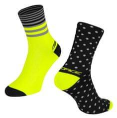 Force Cyklistické ponožky Spot - černo-fluo žluté