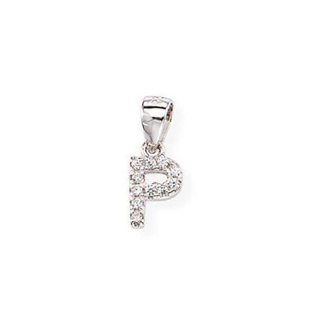 Amen Ezüst medál cirkónium kövekkel P betű Letterami L-P ezüst 925/1000