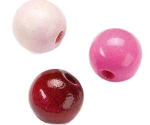 Kraftika Fa gyöngyök 8mm (85db) mix lila-rózsaszín