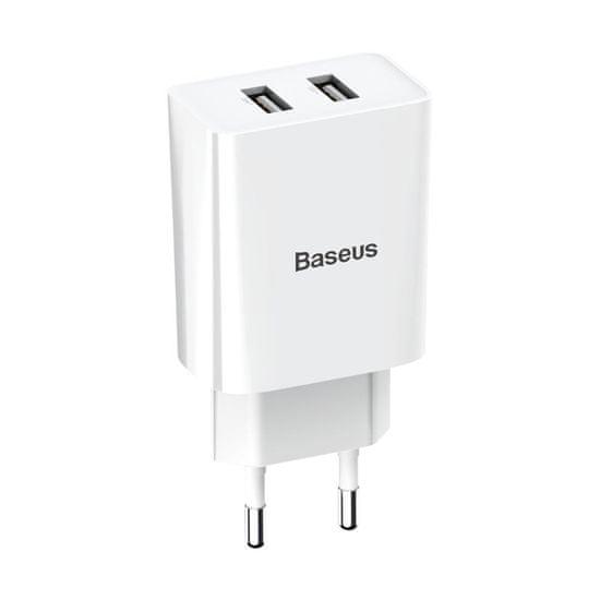 BASEUS Wall nabíjačka 2x USB 2.1A, biela