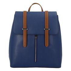 Delami Vera Pelle Elegantný dámsky kožený batôžtek Donald, modrá / hnedá