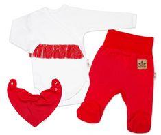 Baby Nellys 3-dílná elegant sada pro malou slečnu, body dl. rukáv s tutu, šátek, polodupačky