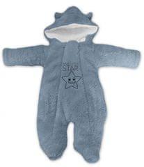 Baby Nellys Zimní chlupáčková kombinézka Little STAR, šedá