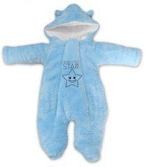 Baby Nellys Zimní chlupáčková kombinézka Little STAR, sv. modrá