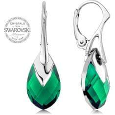 Levien Třpytivé náušnice se zelenými krystaly Pear Metcap