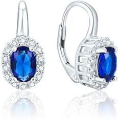 Beneto Ezüst fülbevaló kék kristályokkal AGUC1167