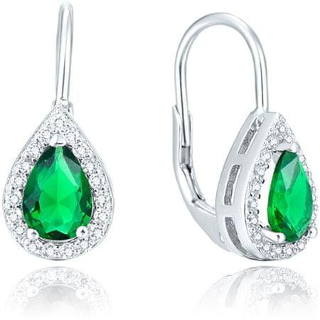 Beneto Ezüst fülbevaló zöld kristályokkal AGUC1161