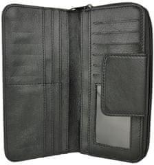 VegaLM Dámska kožená peňaženka s bohatou výbavou v čiernej farbe
