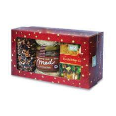 Fytopharma Dárková kazeta Vánoční čaje sypaný 100 g + porcovaný 20 x 2 g + pastovaný med se skořicí 250 g