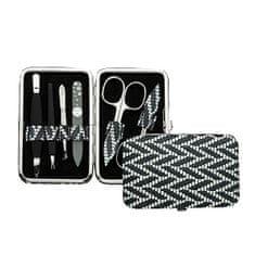 DuKaS Premium line manikirni set, 6-delni okvir, beli / sivi grafični motiv