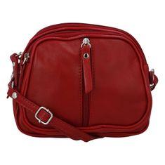 Delami Dámska kožená crossbody kabelka Elma, červená
