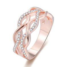 Beneto Růžově pozlacený stříbrný prsten se zirkony AGG333 stříbro 925/1000