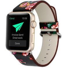 4wrist Kožený řemínek pro Apple Watch s motivem květin 38/40 mm